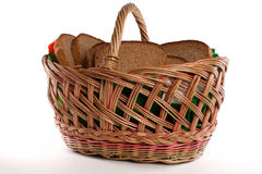 Bread. Basket with bread isolated on white background Royalty Free Stock Images