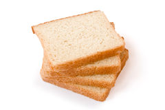 Bread. Four slices of bread on a white background Stock Photography