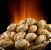 Bread. Basket of bread baked in wood oven Royalty Free Stock Photos