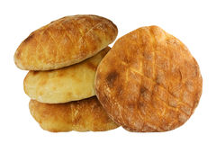 Bread. Four pieces of bread isolated on white background royalty free stock photos