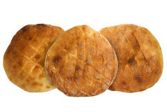 Bread. Three pieces of bread isolated on white background royalty free stock photos