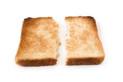 Bread. One toasted.cracked; isolated on white background Stock Photo