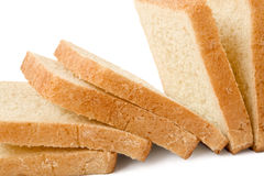 Bread. Six pieces of bread isolated on a white background Stock Images