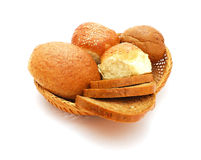 Bread. Basket with bread isolated on white background Stock Image