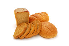 Bread. Composition of different kinds of bread on a white background Royalty Free Stock Images