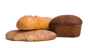 Bread. Fresh bread - isolated on white Royalty Free Stock Photography
