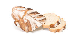 Bread. Fresh sliced loaf of bread on a white background Stock Photo