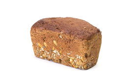 Bread. Wholegrain bread with sunflower seeds on white background Stock Images