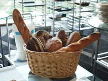 Bread. A basket of bread in the kitchen Stock Images