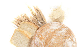 Bread. And wheat isolated on white Royalty Free Stock Image