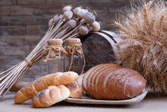 Bread. And baker setout, retro detail Stock Photography