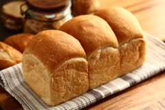Bread. Three part of bread on napkin Stock Photography