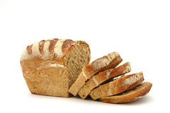 Bread. Fresh baked bread on white background Stock Images