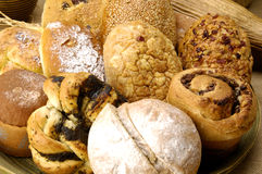 Bread. Bowl of Variety baked goods Royalty Free Stock Photo