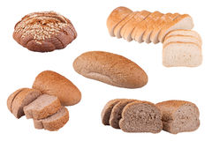 Bread. S with sesame seeds, toast  and rye  isolated on white background royalty free stock image