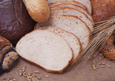 Bread. Composition of bread and wheat spikelets stock image