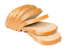 Bread. The cut pieces of bread on a white background royalty free stock photo