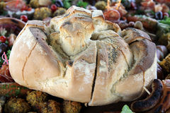 Bread. Freshly baked bread and grilled meat products Stock Images