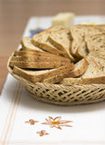 Bread. Ingredients on a table for a sandwich. slices of toast Stock Images