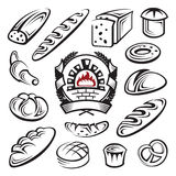 Bread. Monochrome set of bread and bakery stock illustration