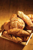 Bread. Various fresh baked bread served on table royalty free stock photo