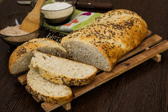 Bread. A staple food prepared by baking a dough of flour, yeast and water royalty free stock images