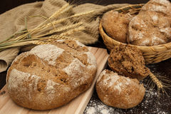 Bread. A staple food prepared by baking a dough of flour, yeast and water stock images