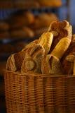 Bread. Fresh warm bread in basket Royalty Free Stock Photo
