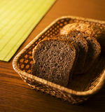 Bread. In a basket on a table stock photo