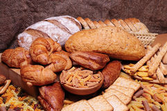 Bread. Different bread arranged on table royalty free stock images