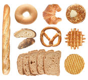 Bread. Goods collection isolated on white backgroun Stock Photos