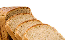 Bread. Slices of bread isolated on white royalty free stock photography