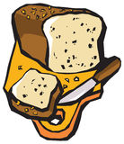 Bread. The graphic still life with bread, knife and board royalty free illustration