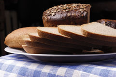 Bread. With rounds and loaf stock photo