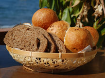 Bread. In the basket, sea and plant background Royalty Free Stock Photo