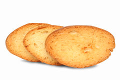 Bread. Three pieces of bread on white one Stock Images