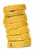 Bread. Seven pieces of bread on white one Royalty Free Stock Photography