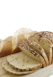 Bread. Sliced whole wheat bread and various bread isolated on white Royalty Free Stock Photos