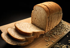 Bread. Slice of bread in low key lighting Royalty Free Stock Images