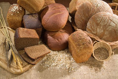 Bread. Different kinds of bread and pastry stock photo