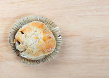 Bread with Almond stuffed apple and Raisins. On tray wood Stock Image