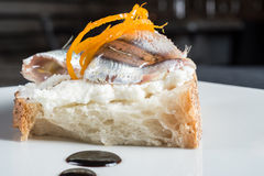 Bread with anchovies and cheese Royalty Free Stock Images