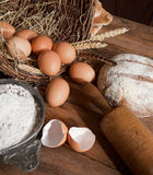 Bread And Vintage Eggs Royalty Free Stock Image