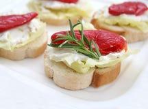 Bread with antipasti Stock Photo
