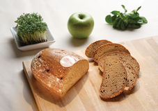 Bread and Apple. Slice bread, apple and vegetable composition stock photos