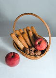 Bread and apple Stock Photos