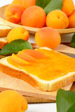 Bread with apricot jam Stock Photos