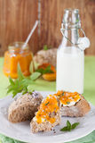 Bread with apricot and mint jam Stock Photography