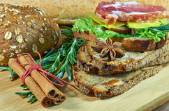 Bread assorted with meat. Bread assorted with herbs and spices royalty free stock photography