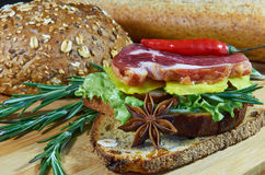 Bread assorted with meat 3. Bread assorted with herbs and spices royalty free stock photo